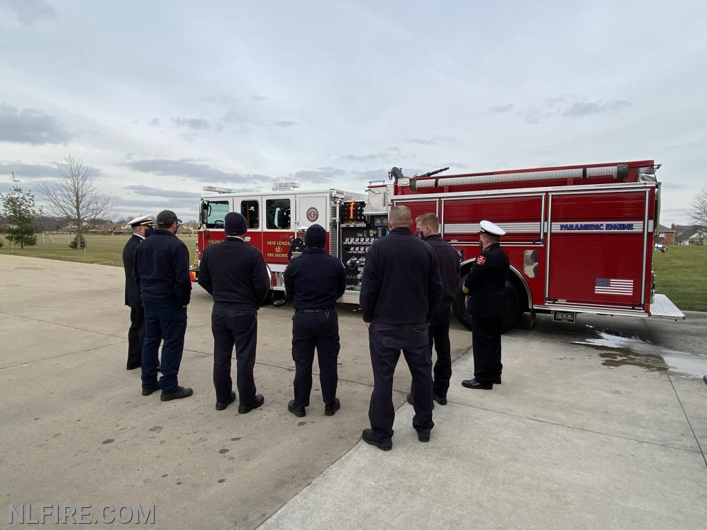 NLFPD personnel attend blessing of new engine.